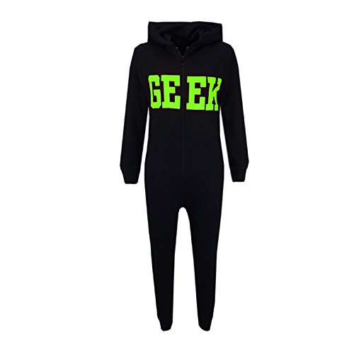 A2Z 4 Kids Unisex Kinder Mädchen Jungen Geek Aufdruck - Cotton Onesie Geek Black & Green 11-12 (Geek Kostüm Kinder)
