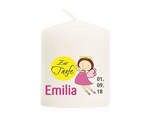Candleworld-fulda give-away - candela per bambini, stile moderno, 60 x 50 mm, personalizzabile con nome e data (set da 10) gat13 (blu petrolio o rosa)
