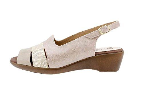 Chaussure femme confort en cuir Piesanto 1554 sandales à talon compensé confortables amples Charol Visón
