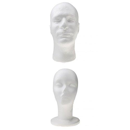 Mannequin Femme et Homme Mousse Tête Modèle D'affichage pour Perruque Chapeau Lunette Blanc