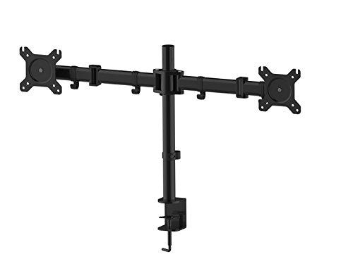 HFTEK Monitor TV Halter Mounts Doppel-Tischhalterung für 2 Bildschirme von 13 bis 27 Zoll - VESA 75/100 - HF29DB Quick Release Lcd Bracket
