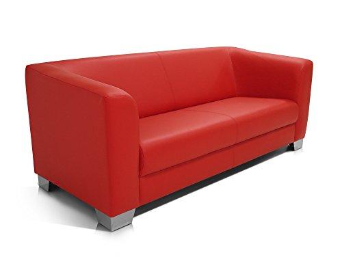 moebel-eins CHICAGO 3-Sitzer Sofa/Ledersofa, rot