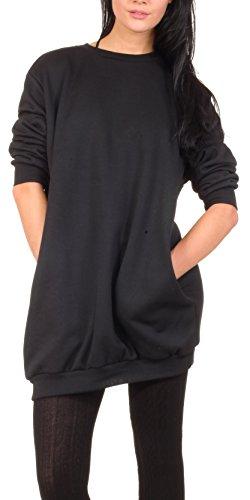Oversize Pullover Sweatshirt Damen Sweater - VIELE Farben - Pulli Hipster Longshirt Oversized Shirt (S/M, Schwarz) -