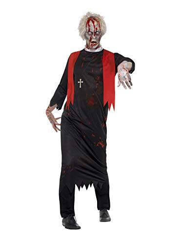 erren Zombie Priester Kostüm, Tunika und Kreuz Kette, Größe: L/XL, schwarz ()