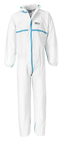 Ebola Kostüm - 2er Pack Leichter ABC-Schutzanzug Kat III Universal-Schutzanzug Schutz gegen Kontamination radioaktiver Stäube (EN1073-2), Infektionserreger (EN14126), Chemikalien (M)