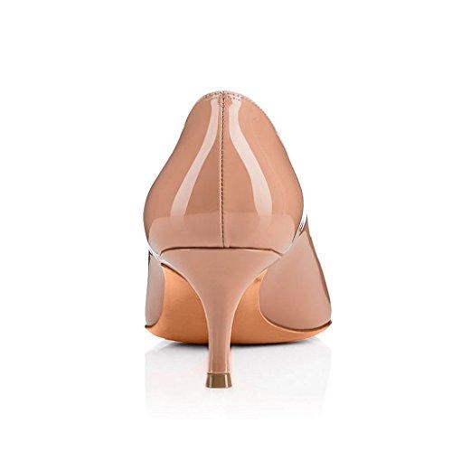 EDEFS Damen Spitz Zehe Geschlossen Pumps Mittlere Absatz Elegant Büro Schuhe Beige