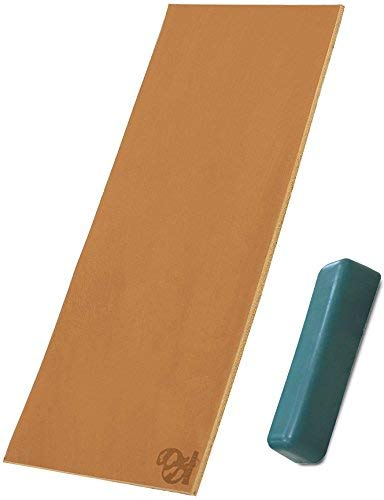 BeaverCraft Double-Sided Leather Strop Honing Sharpening Knives Chisel Tools, 3 X 8 Inch with Polishing Compound