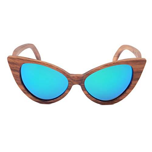 Sexy Katzenaugen farbige Linse Dame Holz Sonnenbrille UV-Schutz handgefertigt für Männer, Frauen. Brille (Farbe : Green) Sexy 5 3/4