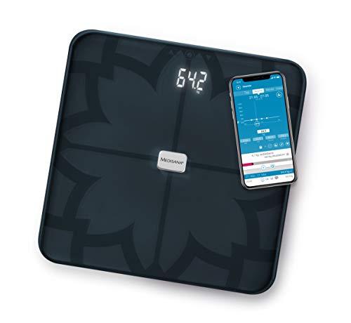 Medisana BS 450 Connect digitale Körperanalysewaage bis 180 kg - schwarze Personenwaage zur Körperfettmessung mit unsichtbarem Display - Körperfettwaage mit Bluetooth App - 40510
