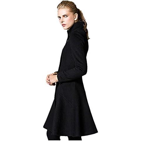 Moda Collar Color sólido cremallera lana abrigo manga larga mujer , black , m