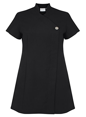 Proluxe Signature Button Beauty Tunic – Hairdressing Massage Therapist Spa Health Work Nail Salon Uniform – Available in 9 Colours (18, Black)