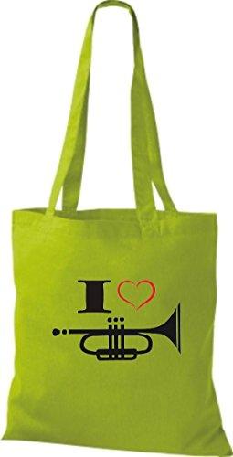 Shirtstown Pochette en tissu Musique I Love Trompette Vert - Citron vert