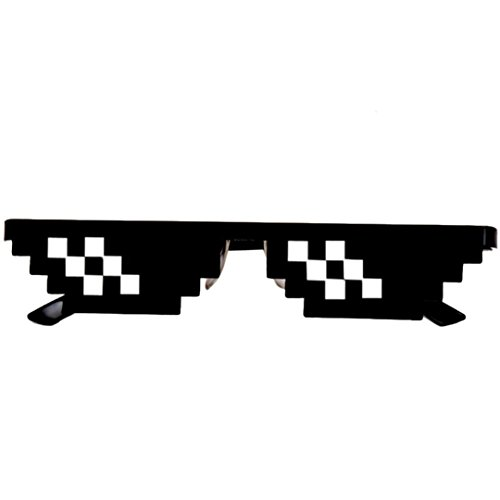 Funny Brille FORH Thug Life Neuheit Sonnenbrille 8 Bit Pixel Deal With IT Sunglasses Fashion Herren Damen Unisex Mottoparty Eyewear Cool Spielzeug Brille (B) (Herren-mode-runde Brille)