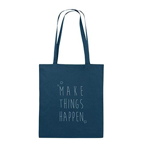 Comedy Bags - MAKE THINGS HAPPEN - Jutebeutel - lange Henkel - 38x42cm - Farbe: Schwarz / Silber Navy / Eisblau