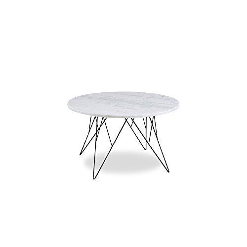 Couchtisch Stein Metall Rund | Tischplatte Marmor Weiß 80cm Metallgestell  Schwarz   Peninsula