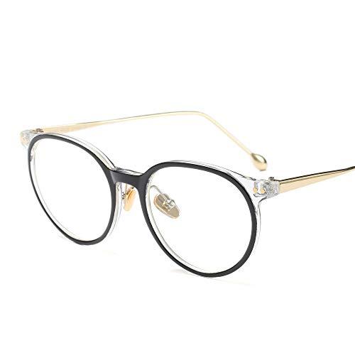 Retro High Fashion Metall Tempel Horn umrandeten klare BrillengläserMänner und Frauen Brille (Farbe : Black/Clear)
