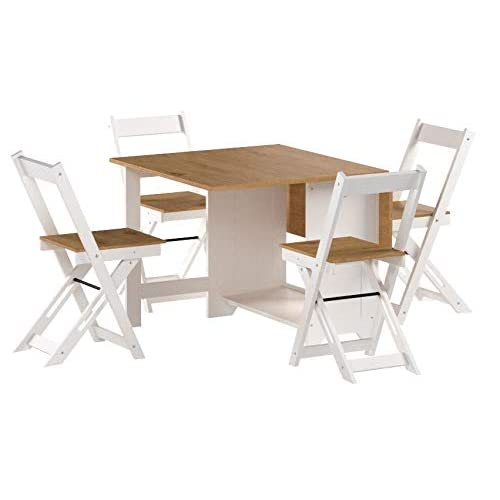 Seconique Santos Butterfly Folding Dining Set, Grey, Grey & Pine