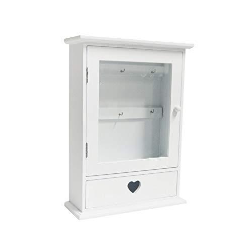 DRULINE Schlüsselkasten aus Holz mit Glastür in Weiß 22 cm x 8 cm x 30 cm mit Herzschublade - Holz Schlüsselkasten