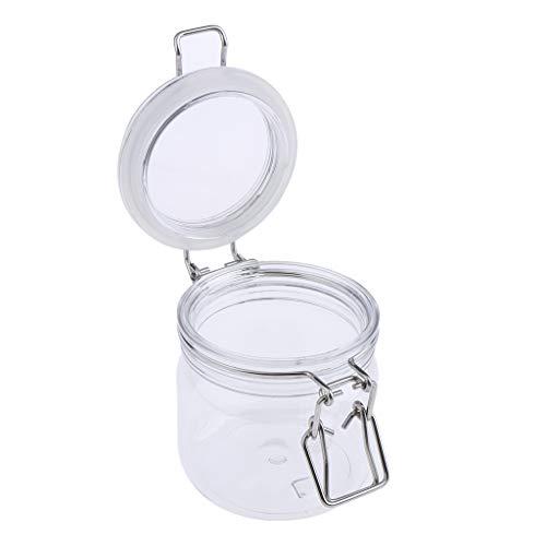 B Blesiya Versiegelte Dosen Transparent Behälter Topf Kosmetikflasche Behälter Topf Maske Verriegelung Deckel Rund Maske Jar - 300 g