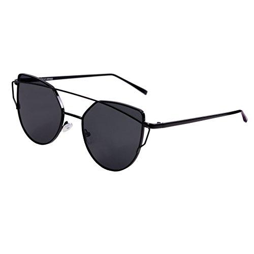 Designer Sonnenbrille Katzenaugen für Damen Vintage Aviator UV400 (6 - Black Frame - Gray Lens)