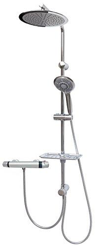 Brauseset mit Thermostat Duschgarnitur Duschsystem Duschset Regendusche Dusch Set Duschstange variable Halter Chrom