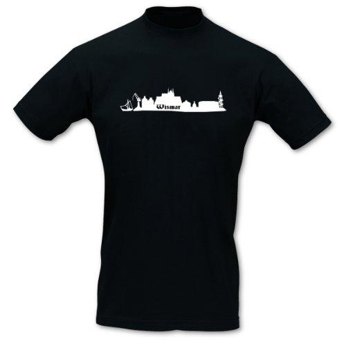 Skyline4u Wismar Skyline T-Shirt mit kurzen Armen, Flexdruck, Sol's Imperial Größe L, schwarz/weiß