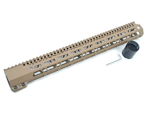 Trirock 43,2 cm .308 7.62 Ultra Light Slim Clamp Style TAN/Flat Dark Earth High Profile MLOK M-LOK Free Float Handguard Rail System (Airsoft-rail-system-tan)