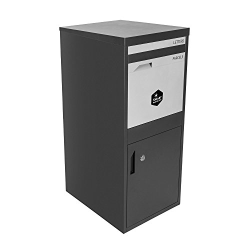 Rear Access Letter Box.Extra Large Smart Parcel Drop Box Dark Grey Front Rear Access Doors For Secure Multiple Internet Deliveries Wall Floor Gate Fence Mounting