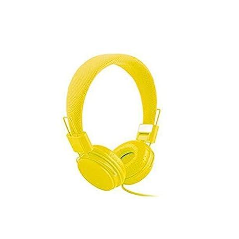 Headband Lightweight Stereo Foldable Headphones with Microphone and Remote Control Headband Headphones 3.5mm Cartoon Earphone Headset Dj Headphones (yellow)