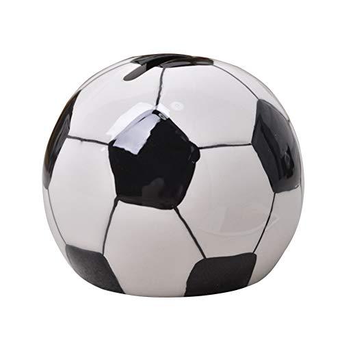 LIOOBO Kreative Fußball Sparschwein Keramik Fußball Münze Bank Deposit Box Einrichtungsgegenstände Artefakten Größe L (Schwarz und Weiß)