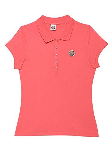 Roland-Garros Polo Femme en coton piqué logo tricolore - Rose
