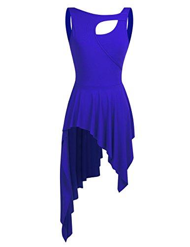 YiZYiF Damen Ballett Trikot Ballettanzug Latein Tanz-Kleider Gymnastikanzug Turnanzug Leotard mit Asymmetrisch Rock Blau X-Small