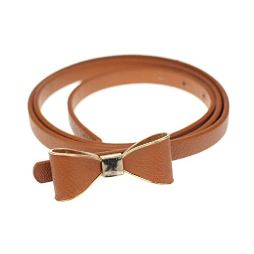 ADGJLI Solid Color Women Candy Color Pu Leather Butterfly Bow Thin Waist Belt Waistband Bow Skinny Belt
