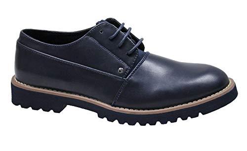Evoga scarpe uomo class blu scuro casual inglesine man's shoes eleganti (42, blu)