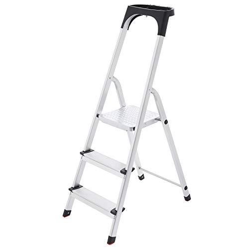 SONGMICS Escalera doméstica con 3 peldaños, Escalera de aluminio antideslizante,...