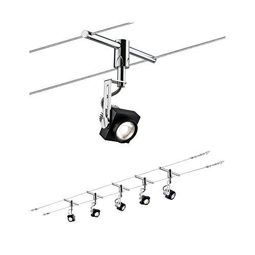 Paulmann 940.81 Seilsystem Phase Set Warmweiß 5x5W LED Schwarz Chrom 94081 Seilleuchte Hängeleuchte -