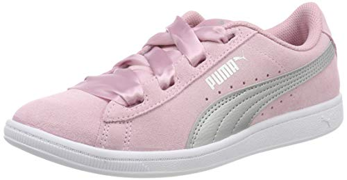 Puma Mädchen Vikky Ribbon Jr Sneaker, (Pale Pink Silver), 38.5 EU (Rosa Kinder Sneaker)