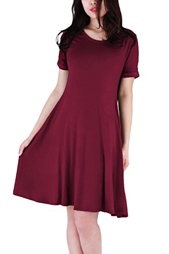 WIWIQS Frauen Swing Loose Kurzarm T-Shirt Fit Comfy Casual Flowy Tunika Midi Kleid, Burgund L