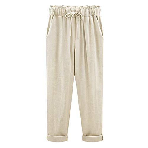 Vertvie Damen Paperbag Hose Casual Festliche Hosen Weite Bein Hohe Taille Nachahmung Baumwolle und Leinen neun Hosen(Aprikose, M(EU 34-38))