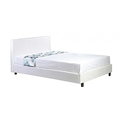 Direct Furniture Pablo Low Frame Bed, Faux Leather, White, 3 ft/Single