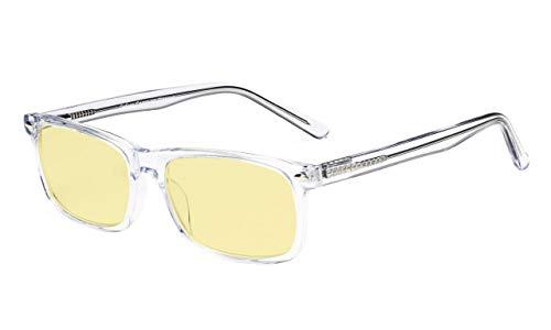 Eyekepper-Azetat-Rahmen-blaues Licht, das die Brille des Computer-Gelb-getönten Brillenglases blockiert (transparent, 1.75)