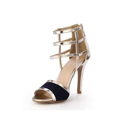 GHFJDO Damen Sommer PU Plattform Kleid Sandale, Klare High Heels Schuhe Damen Pole Dance Pumps Sandalen,Gold,41EU