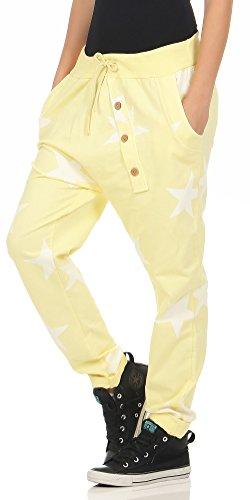 malito Damen Jogginghose mit Knopfleiste | Sporthose mit Sternen | Baggy zum Tanzen | Sweatpants �?Trainingshose 3303 Gelb