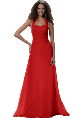 Sunvary A-Line-Halter abiti Everning vestiti Red