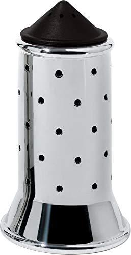 Alessi Salzstreuer aus Edelstahl mit Deckel und Verschluss aus PA, schwarz