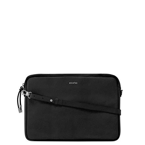 Maison Héroïne Jamie 13 Zoll | Laptop Tasche | Crossbody Tasche | Handtasche | Damen | Umhängetasche | Leder | Schultertasche (Schwarz Silber) -