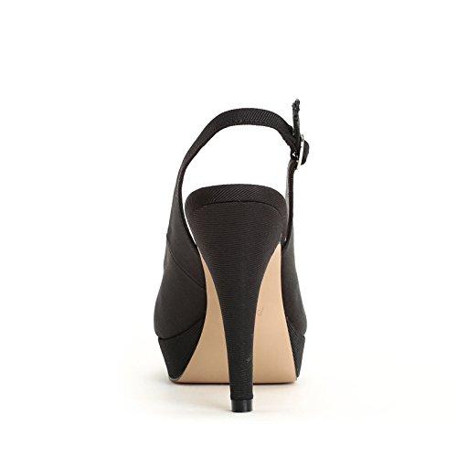 ALESYA by Scarpe&Scarpe - Sandales hautes ouvertes devant, en Cuir, à Talons 9 cm Noir