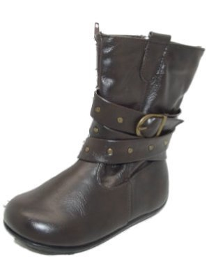 cute-neuf-petite-fille-goody-2-chaussures-brun-fonce-haut-bottes-boucle-nourrisson-taille-6-12-marro