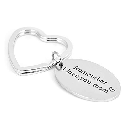 AmDxD Edelstahl Schlüsselanhänger Buchstaben Remember I Love You mom Dog Tag Anhänger Silber Schlüsselbund Auto-Schlüsselring -
