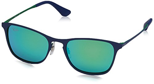 Ray-Ban Rayban Unisex-Kinder Sonnenbrille 9539s, Rubber Blue/Flash Green, 48